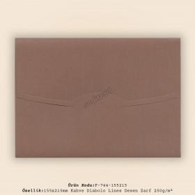 15,5x21,5cm Kahve Diabolo Lines Desen Zarf 250gr/m²