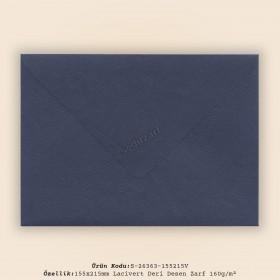 15,5x21,5cm Lacivert Deri Desen Zarf 160gr/m²