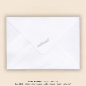 15,5x21,5cm Beyaz Laid Zarf 120gr/m²