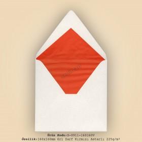 16x16cm Gri Zarf Kırmızı Astarlı 225gr/m²