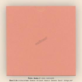 16x16cm Somon Orient Hasır Desen Zarf 300gr/m² Kapaksız