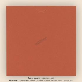 16x16cm Kahve Orient Hasır Desen Zarf 300gr/m² Kapaksız