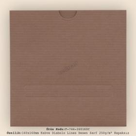 16x16cm Kahve Diabolo Lines Zarf 250gr/m² Kapaksız
