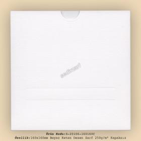 16x16cm Beyaz Keten Desen Zarf 250gr/m² Kapaksız