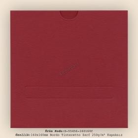 16x16cm Bordo Tinteretto Desen Zarf 250gr/m² Kapaksız