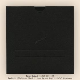 16x16cm Siyah Prisma Desen Zarf 220gr/m² Kapaksız