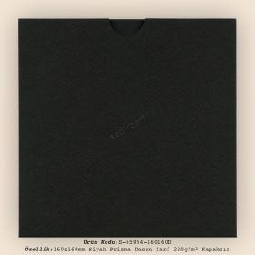 16x16cm Siyah Prisma Desen Zarf 220gr/m² Kapaksız (2000 Ad)