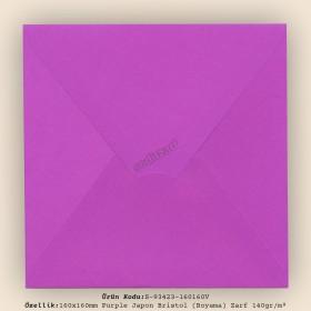 16x16cm Purple Japon Bristol (Boyama) Zarf 140gr/m²