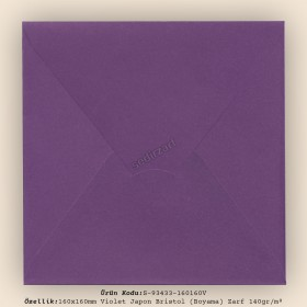 16x16cm Violet Japon Bristol (Boyama) Zarf 140gr/m²