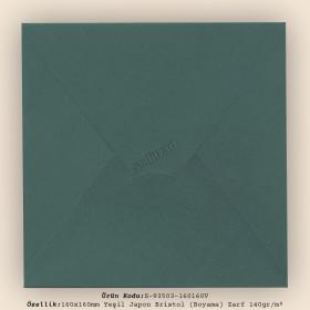 16x16cm Yeşil Japon Bristol (Boyama) Zarf 140gr/m²