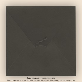 16x16cm Siyah Japon Bristol (Boyama) Zarf 140gr/m²