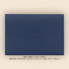 16x23cm Lacivert Çizgili Desen Zarf 280gr/m²