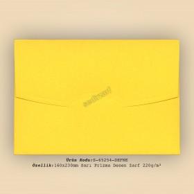 16x23cm Sarı Prisma Desen Zarf 220gr/m²