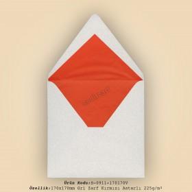 17x17cm Gri Zarf Kırmızı Astarlı 225gr/m²