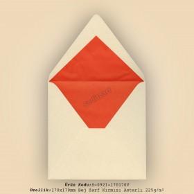 17x17cm Bej Zarf Kırmızı Astarlı 225gr/m²