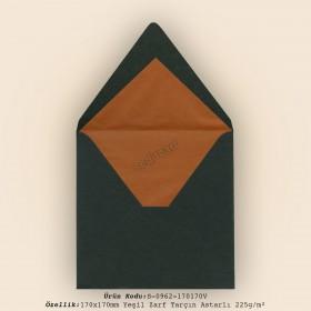 17x17cm Yeşil Zarf Tarçın Astarlı 225gr/m²