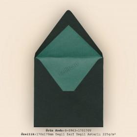 17x17cm Yeşil Zarf Yeşil Astarlı 225gr/m²