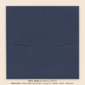 17x17cm Lacivert Çizgili Desen Zarf 280gr/m²