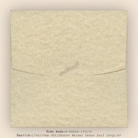 17x17cm Sütlükahve Mermer Desen Zarf 250gr/m²