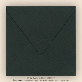 17x17cm Yeşil Zarf 225gr/m²