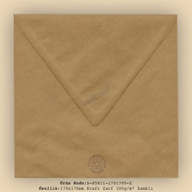 17x17cm Kraft Zarf 100gr/m² Zamklı