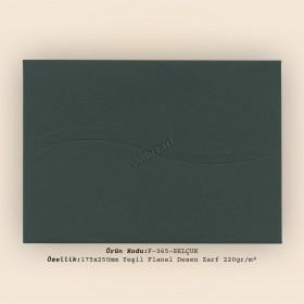 17,5x25cm Yeşil Flanel Zarf 220gr/m²