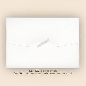 17,5x25cm Beyaz İnce Tuale Desen Zarf 280gr/m²