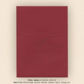 18x13cm Bordo Keten Desen Zarf 220gr/m²