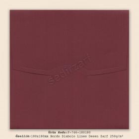 18x18cm Bordo Diabolo Lines Desen Zarf 250gr/m²