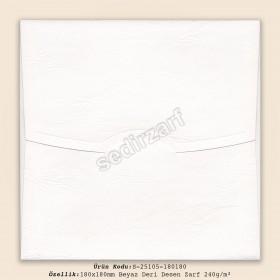 18x18cm Beyaz Deri Desen Zarf 240gr/m²