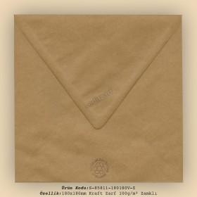 18x18cm Kraft Zarf 100gr/m² Zamklı
