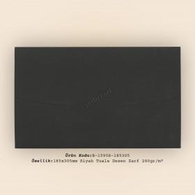 18,5x30,5cm Siyah İnce Tuale Desen Zarf 280gr/m²
