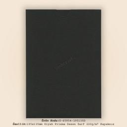 19,5x13,5cm Siyah Prisma Desen Zarf 220gr/m² Kapaksız