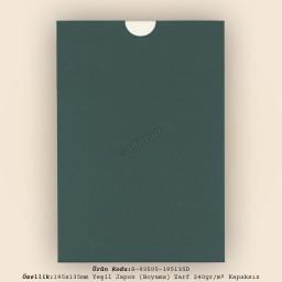 19,5x13,5cm Yeşil Japon Bristol (Boyama) Zarf 240gr/m² Kapaksız