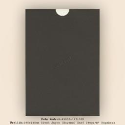 19,5x13,5cm Siyah Japon Bristol (Boyama) Zarf 240gr/m² Kapaksız