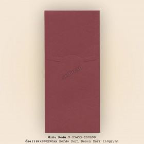 20x9cm Bordo Deri Desen Zarf 160gr/m²