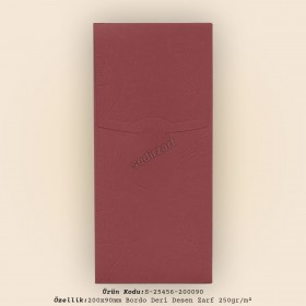 20x9cm Bordo Deri Desen Zarf 250gr/m²
