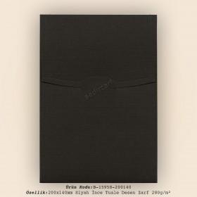 20x14cm Siyah İnce Tuale Desen Zarf 280gr/m²