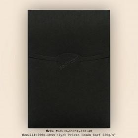 20x14cm Siyah Prizma Desen Zarf 220gr/m²