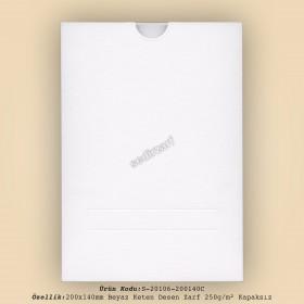 20x14cm Beyaz Keten Desen Zarf 250gr/m² Kapaksız