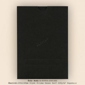 20x14cm Siyah Prisma Desen Zarf 220gr/m² Kapaksız