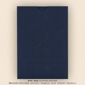 20x14cm Lacivert Paspartu Zarf 250gr/m² Kapaksız