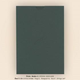 20x14cm Yeşil Paspartu Zarf 250gr/m² kapaksız
