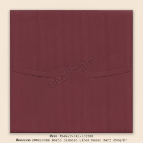 20x20cm Bordo Diabolo Lines Desen Zarf 250gr/m²