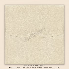 20x20cm Satin Cream Fiber Desen Zarf 250gr/m²