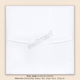 20x20cm Beyaz Mat Kuşe Zarf 250gr/m²