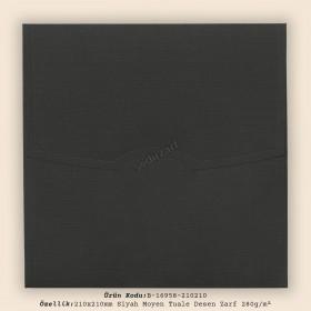 21x21cm Siyah Moyen Tuale Desen Zarf 280gr/m²