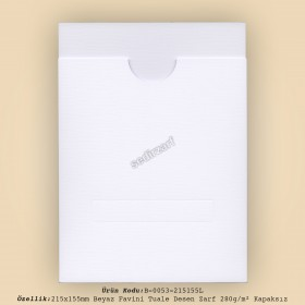 21,5x15,5cm Beyaz Favini Tuale Zarf 280gr/m² Kapaksız