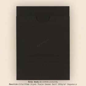 21,5x15,5 cm Siyah Tuale Desen Zarf 280gr/m² Kapaksız
