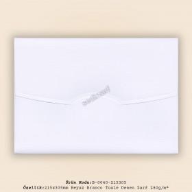 21,5x30,5cm Beyaz Branco Tuale Zarf 280gr/m²